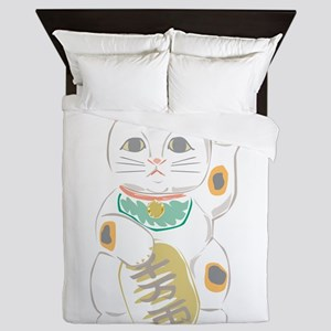 Japanese Lucky Cat Queen Duvet