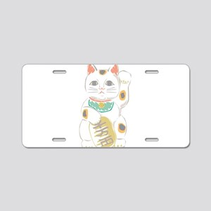 Japanese Lucky Cat Aluminum License Plate