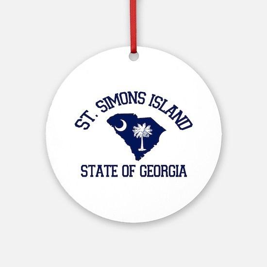 St. Simons GA - Map Design. Ornament (Round)