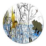 Winter Warrior and Bear Round Car Magnet