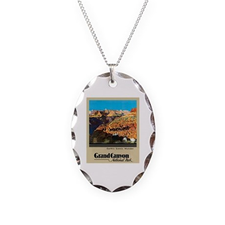 Grand Canyon Travel Poster 2 Necklace Oval Charm