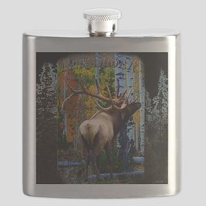 Trophy bull elk Flask