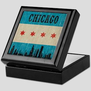 Vintage Chicago Skyline Keepsake Box