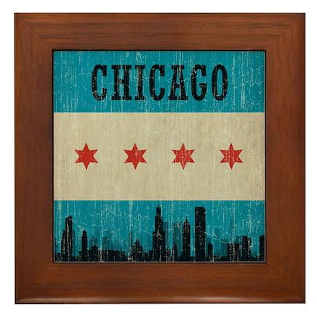 Vintage Chicago Skyline Framed Tile
