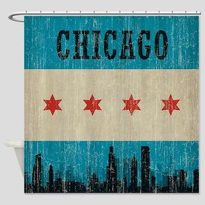 Vintage Chicago Skyline Shower Curtain