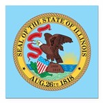 Illinois State Seal Square Car Magnet 3