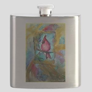 Cardinal, red bird art! Flask
