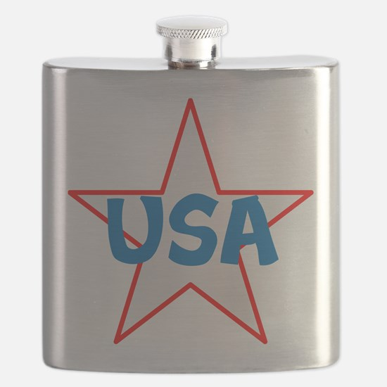 USA, red, white, blue, star! Flask