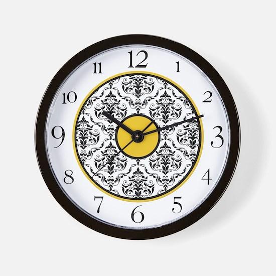 Yellow Black White Damask Elegant Clock Wall Clock