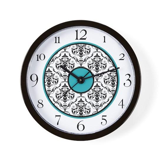 Turquoise Black  White Damask Elegant Clock