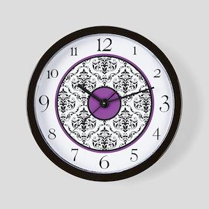 Purple Black White Damask Elegant Clock Wall Clock