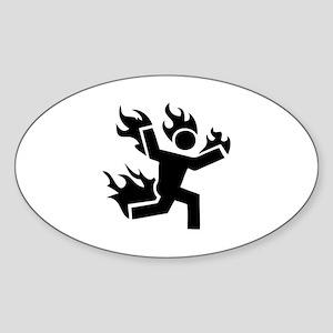 Man on Fire Sticker (Oval)
