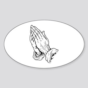 Praying Hands Sticker (Oval)