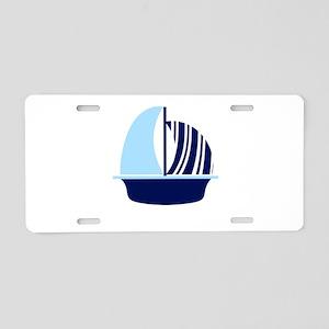 Navy Blue White Stripe Sail Boat Aluminum License