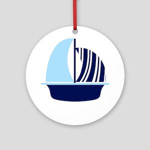 Navy Blue White Stripe Sail Boat Ornament (Round)