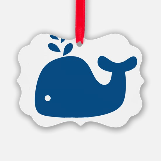 Navy Blue Silhouette Whale Ornament