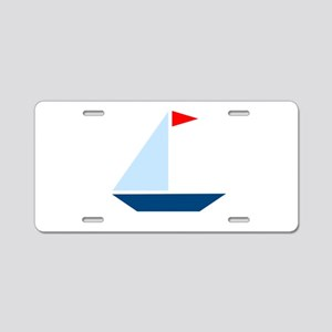 Red Flag Sail Boat Aluminum License Plate