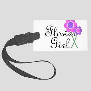 Purple Daisy Flower Girl Large Luggage Tag