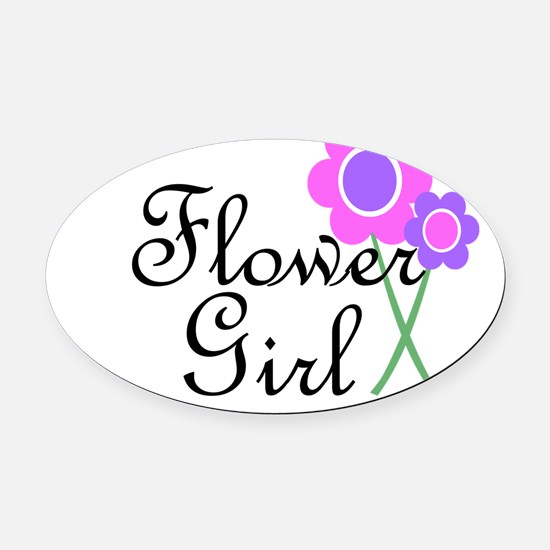 Purple Daisy Flower Girl.png Oval Car Magnet