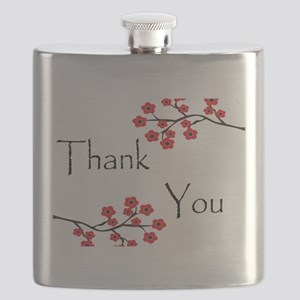 Red Cherry Blossoms Thank You Flask