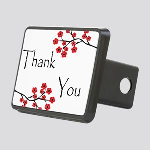 Red Cherry Blossoms Thank You Rectangular Hitc