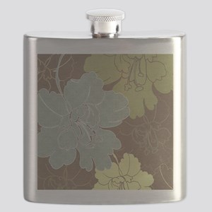 Blue Brown Hibiscus Flask