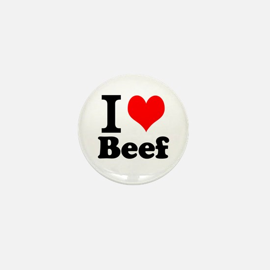 i love beef, beef, meat Mini Button