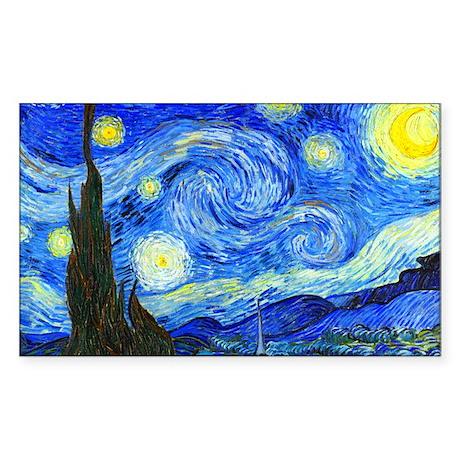 Van Gogh - Starry Night Sticker (Rectangle)