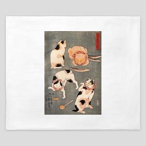 Japanese Cats King Duvet