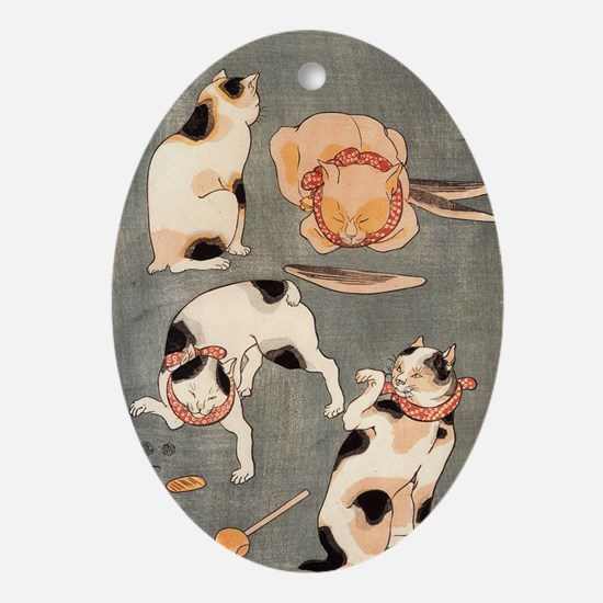 Japanese Cats Ornament (Oval)