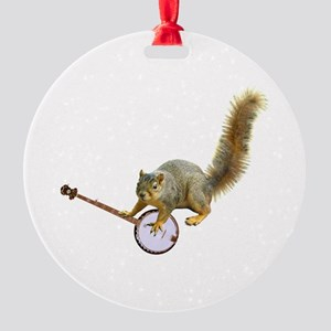 Squirrel with Banjo Round Ornament