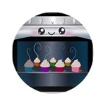 Cute Happy Oven with cupcakes Ornament (Round)