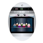 Cute Happy Oven with cupcakes Ornament (Oval)