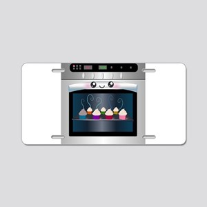 Cute Happy Oven with cupcakes Aluminum License Pla
