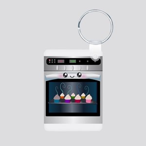 Cute Happy Oven with cupcakes Aluminum Photo Keych