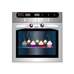 Cute Happy Oven with cupcakes Square Sticker 3