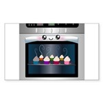 Cute Happy Oven with cupcakes Sticker (Rectangle 5