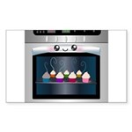 Cute Happy Oven with cupcakes Sticker (Rectangle 1