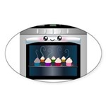 Cute Happy Oven with cupcakes Sticker (Oval 10 pk)