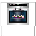 Cute Happy Oven with cupcakes Yard Sign