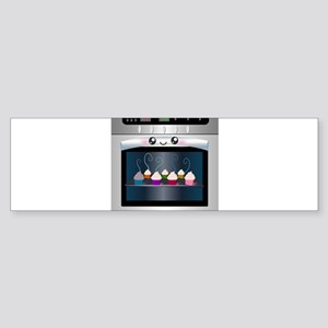 Cute Happy Oven with cupcakes Sticker (Bumper)