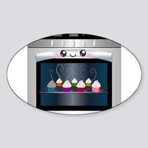 Cute Happy Oven with cupcakes Sticker (Oval)