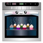 Cute Happy Oven with cupcakes Square Car Magnet 3
