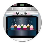 Cute Happy Oven with cupcakes Round Car Magnet