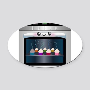 Cute Happy Oven with cupcakes Oval Car Magnet