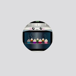 Cute Happy Oven with cupcakes Mini Button