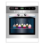 Cute Happy Oven with cupcakes Small Poster
