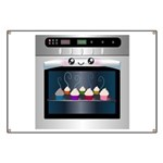 Cute Happy Oven with cupcakes Banner