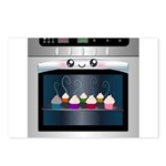 Cute Happy Oven with cupcakes Postcards (Package o
