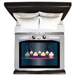 Cute Happy Oven with cupcakes King Duvet